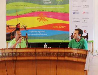 Charu Nivedita and Rakesh Khanna at the Hay Festival, 2010