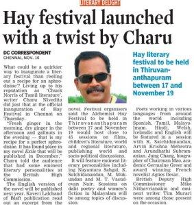 Charu Nivedita at the inauguration of the Hay Festival Trivandrum, 2011 at Chennai 1