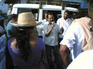 Charu speaks at anti-coke march, Kanjikode on Aug 29, 2008. 2